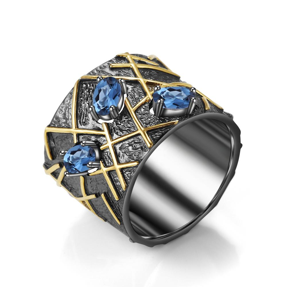 Gold plated blue spinel rings 925 silver blue sapphire rings