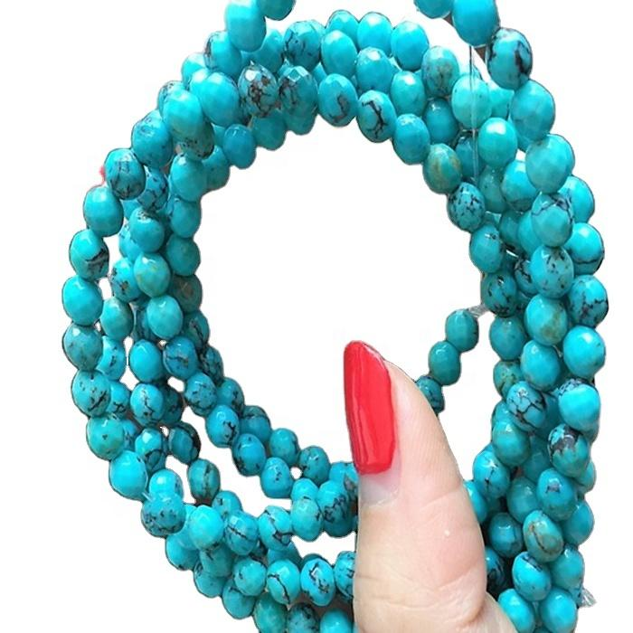naturally 100% genuine turquoise gemstone jewelry Natural Faceted Round Tiny Turquoise Beads Genuine