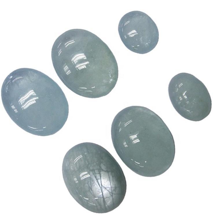 Milky Aquamarine loose cabochon gemstone Oval cut natural blue Milky Aquamarine cabs