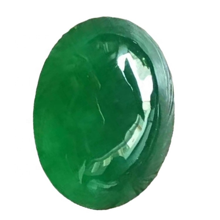 Emerald Oval Cabochon Smooth Polished Surface Oval Rich Green Emerald Cabochon