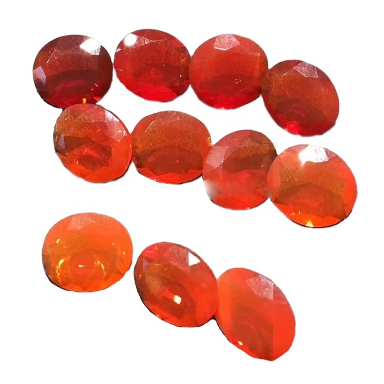 Faceted opal cabochon Red Faceted opal cabochon Loose Gemstone