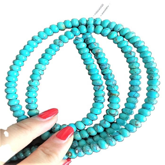 100% natural turquoise rondel beads for jewelry making