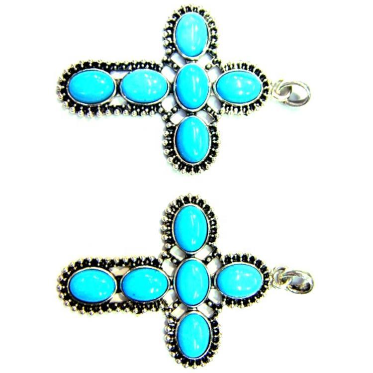 Turquoise gemstone cross pendant jewelry