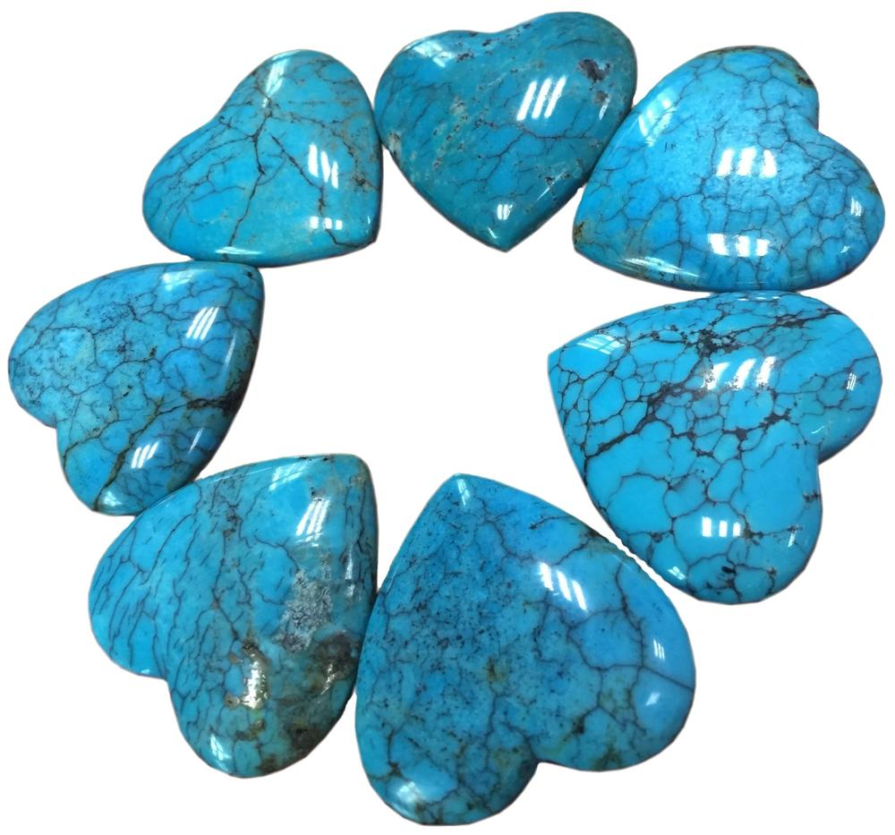 spider web dark blue turquoise rough hot-sale Persian turquoise cabochon Heart cabochon