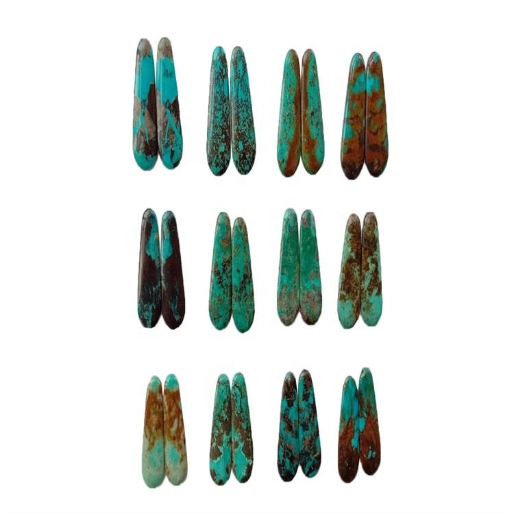 35X14x3.8mm Natural Turquoise Kingman Turquoise Pear Cabochon/Arizona turquoise cabs match pairs