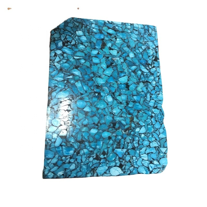 composite turquoise made with real smaller pieces turquoise rough stone copper natural turquoise blocks wholesale