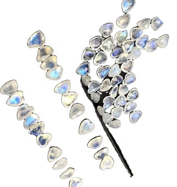 White Moonstone Heart Shape loose gemstone DIY Gemstones for DIY Jewelry Heart Shaped Moonstone Cabochon Moonstone