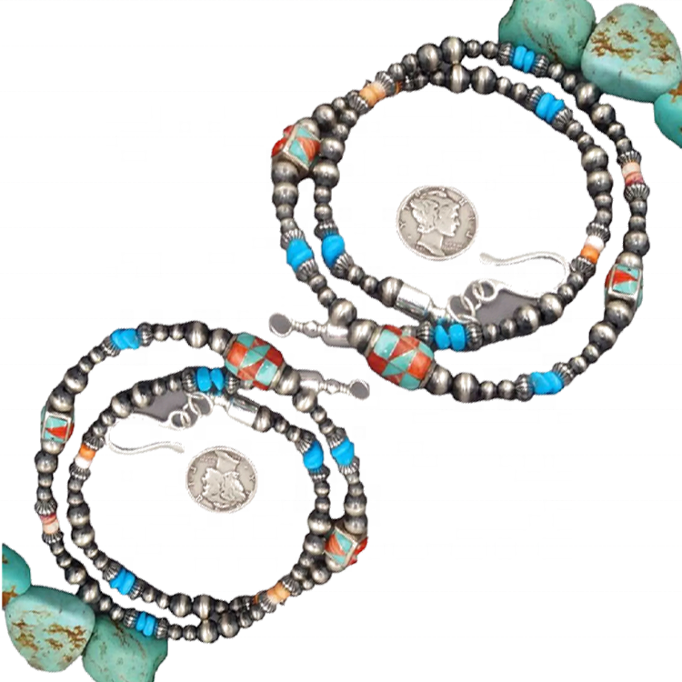 Natural turquoise large stone necklaces jewelry