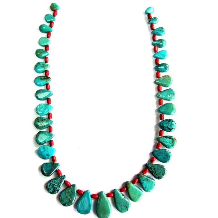 Turquoise Nugget beads necklace jewelry