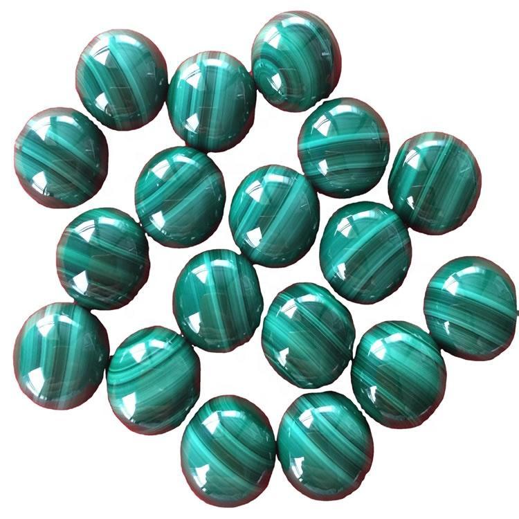 Natural Malachite Polished Malachite Cabochon loose Gemstone Round shape calibrated sizes
