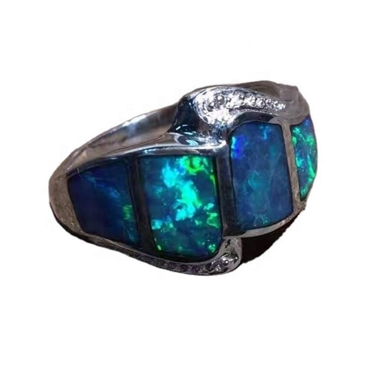 Gold Opal Gemstone Pave Diamond 925 Silver Finger Ring Design For Women