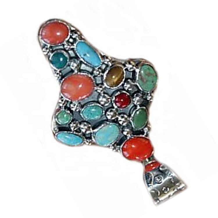Turquoise Pendant Cross Silver India Style Pendants or Charms Themed Pendants