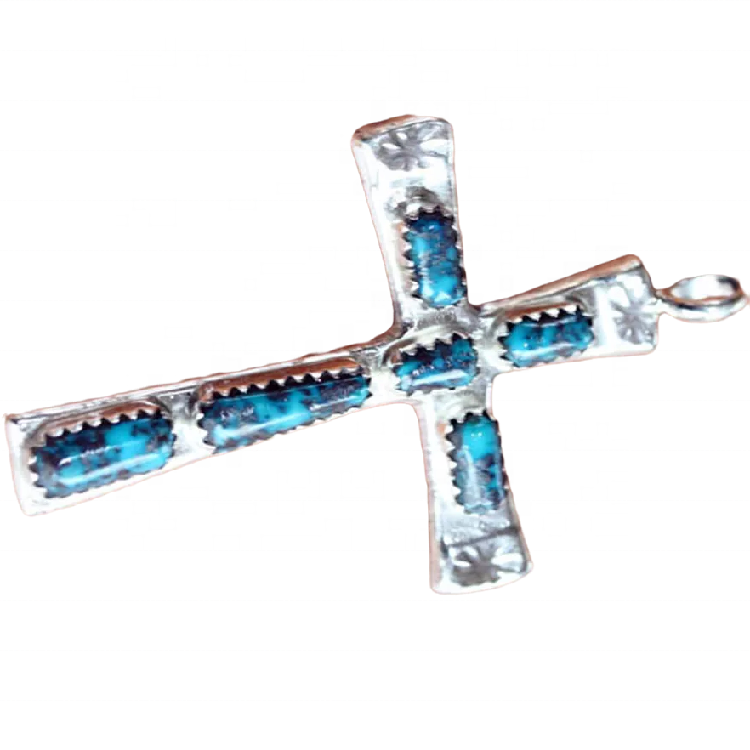 Turquoise pendant jewelry Natural Genuine turquoise cross pendant Silver plated pendant
