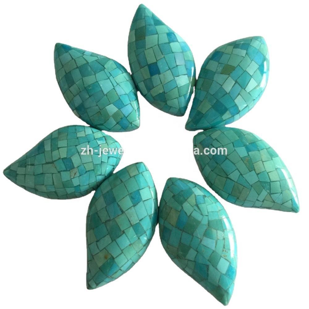 Wholesale Handmade turquoise mosaic cabochons jewelry