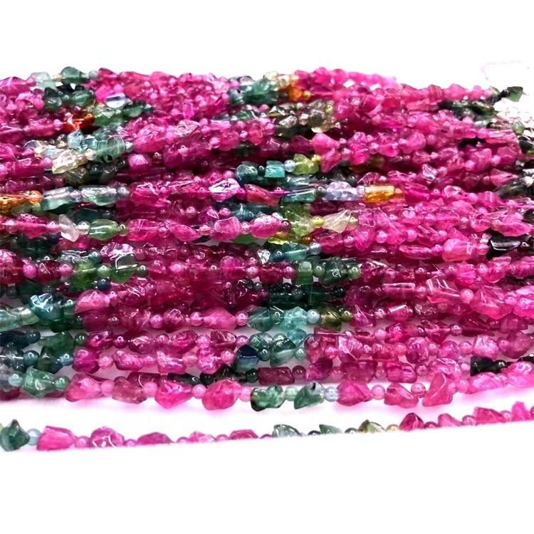 Tourmaline Rubellite pink color  beads Apyrite shiny bule color bangle jewelry