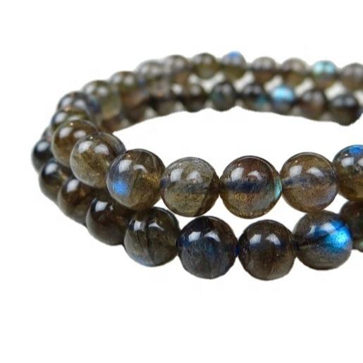 Extreme Blue fire labradorite smooth round beads bracelet