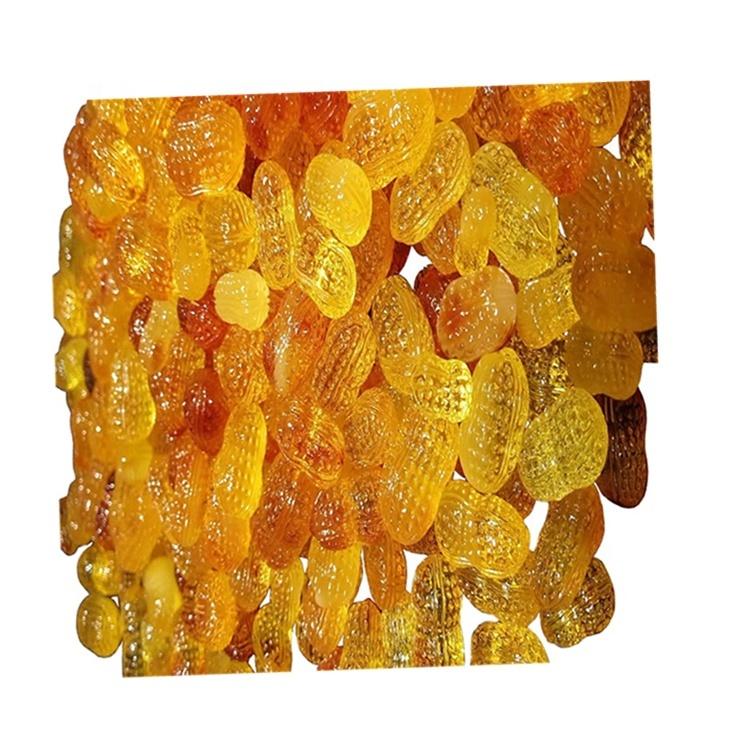 Yellow amber beeswax natural handmade carving  peanut shape loose gemstone