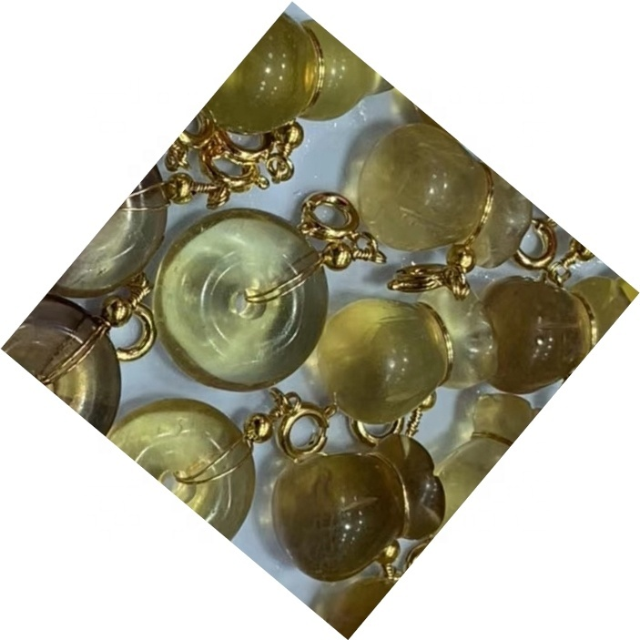 Fluorite carved gourd/Ring shape gem/Gold plated pendant