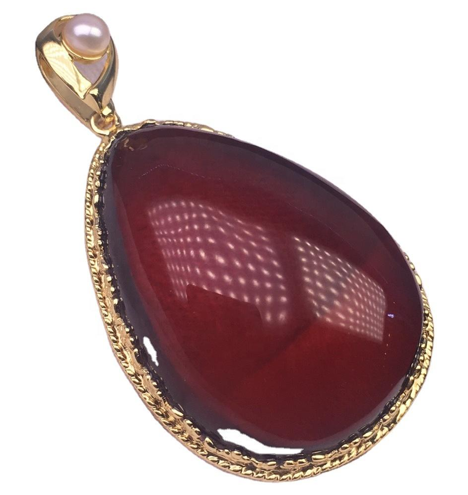 Crystal clear gold plated red amber pendant white pearl pendant