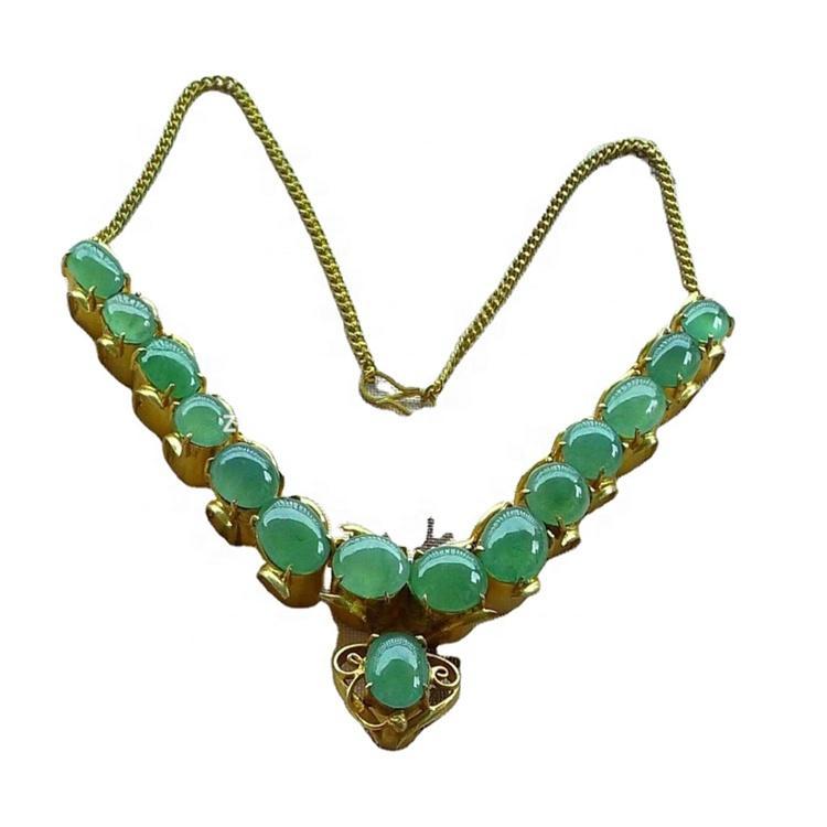 18K gold gemstone Emerald cabochon to make necklace