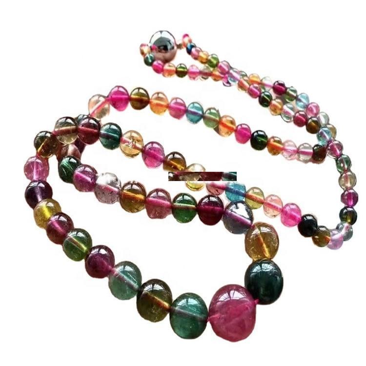 Colorful highest quality round beads Tourmaline rubellite gemstone necklace make wholesale