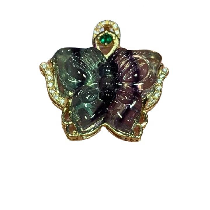 Natural Green  Fluorite Carved Butterfly Crystal Pendant