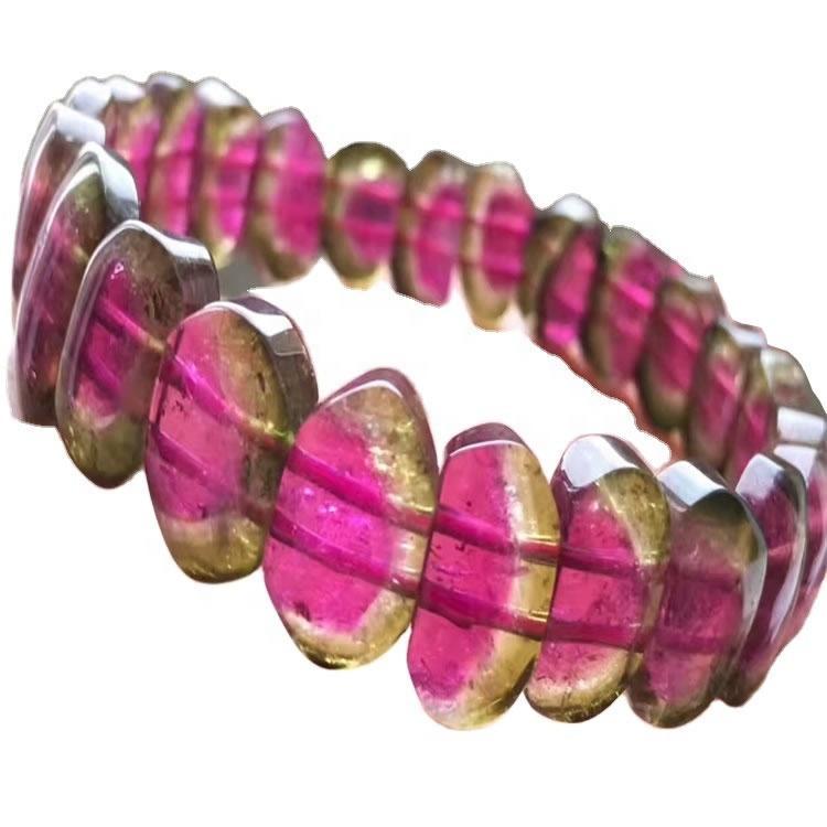 Tourmaline Rubellite watermoon colorful beads bangle Apyrite bangle 56.3mm Natural Purple Tourmaline Bangle