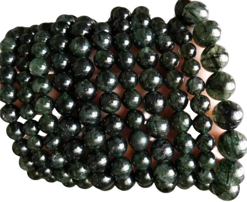 23mm carved round beads make Green Rutilated Quartz jewelry gemstone bracelet