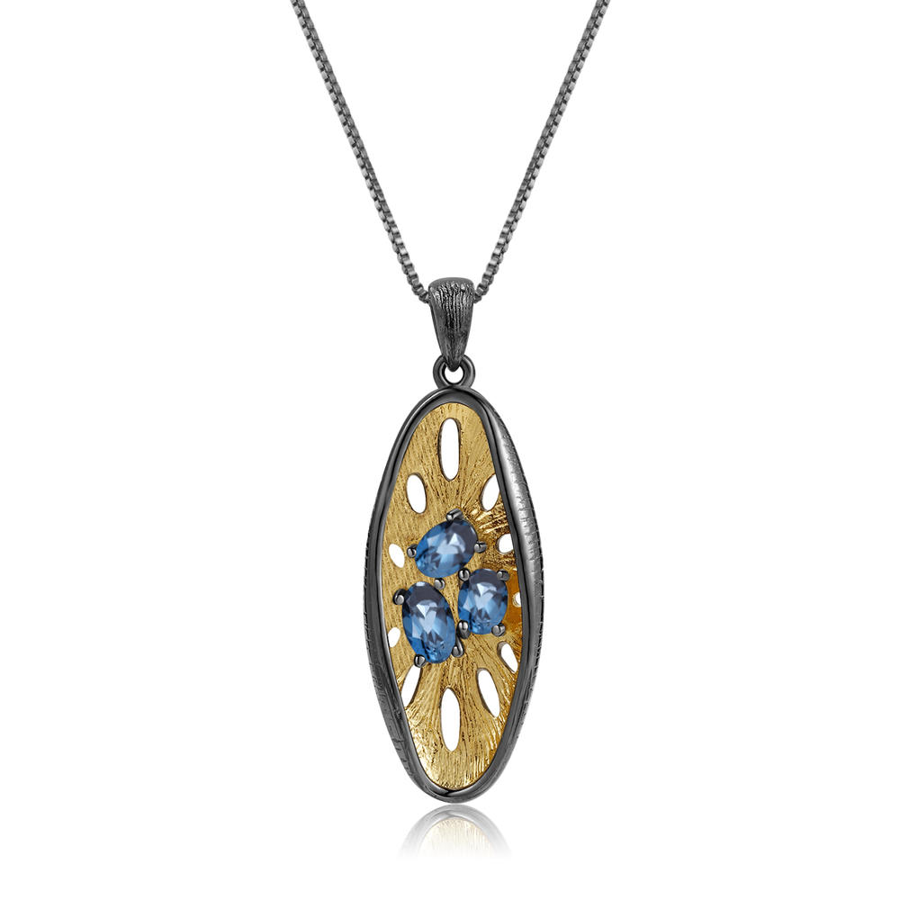 Sapphire Necklace For Women Gold.Sapphire Pendants.Birthday Gifts.