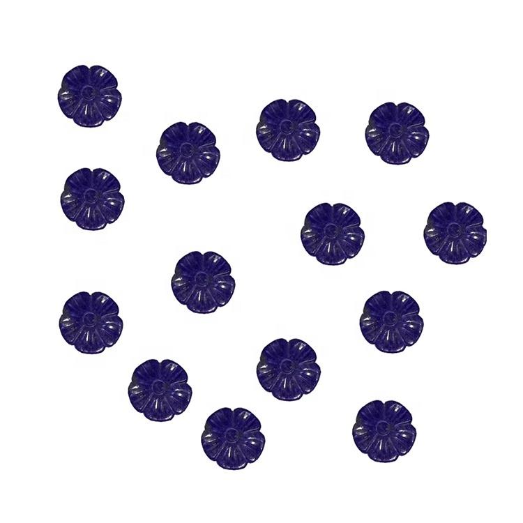 Carved Lapis Lazuli Flower Gemstone Beads