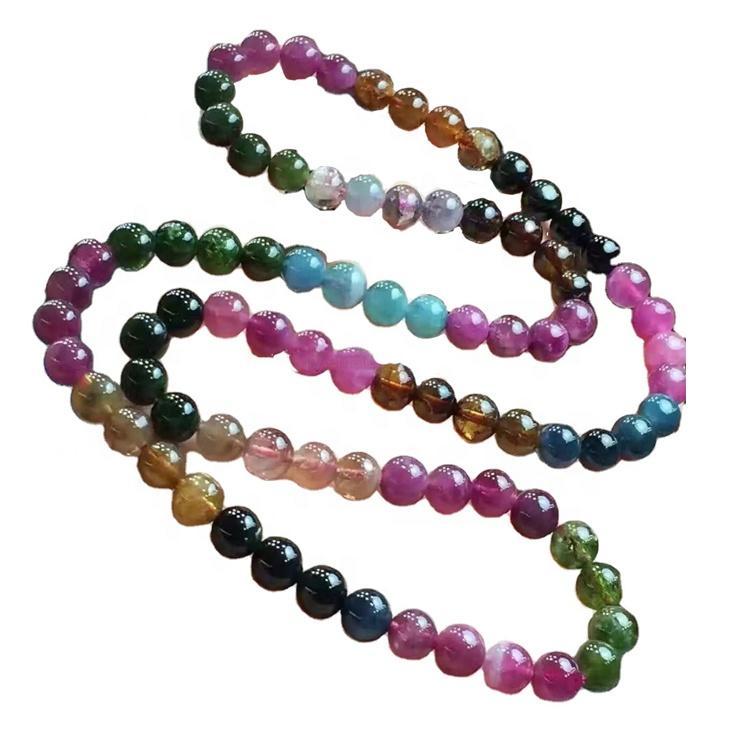 Natural colorful Tourmaline round Beads Bracelet Rubellite make wholesale