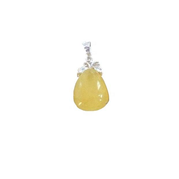 Natural Amber gemstone inlay sterling silver pendant