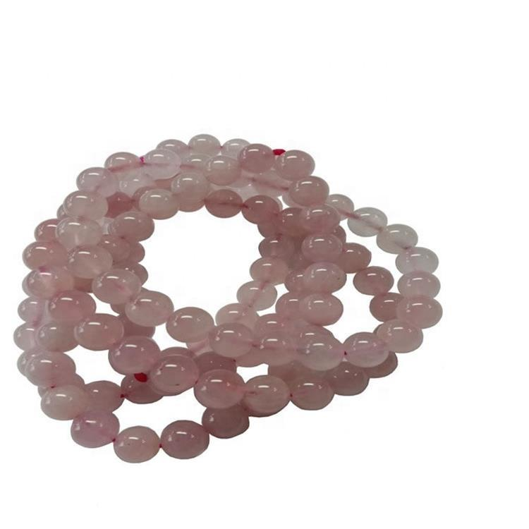 Smooth Natural Rose quartz Fashion Bracelet Gemstone  Bead Bracelet Jewelry