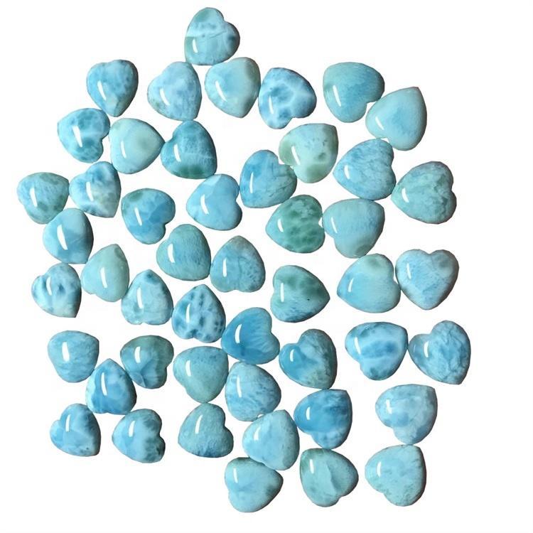 Natural Wholesale Larimar Heart shape cabochon smooth  gemstone