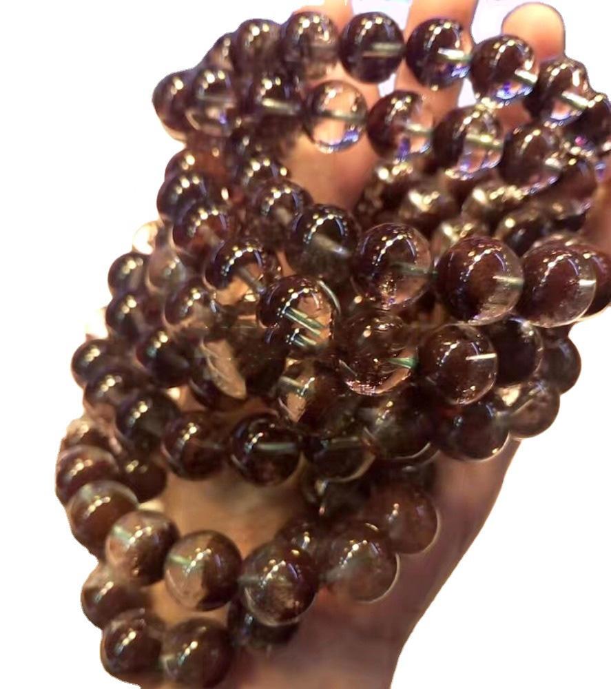 Natural brown color phantom quartz crystal round beads bracelet