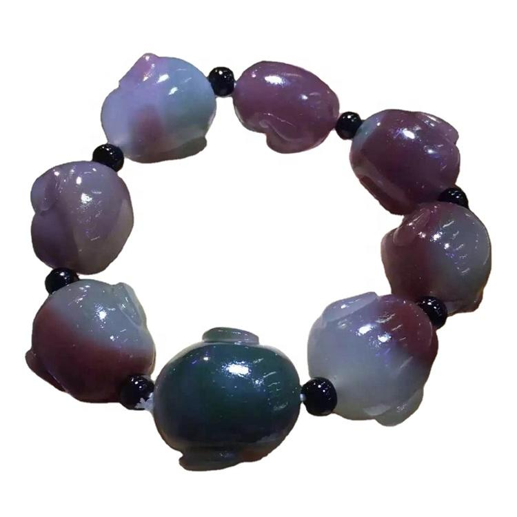 Purple green carved beads agate, different size and shapes available