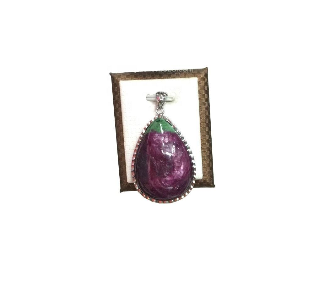 Beautiful Natural Epidote Stone Wands Points Red Ruby Pendant In Green  For Sale