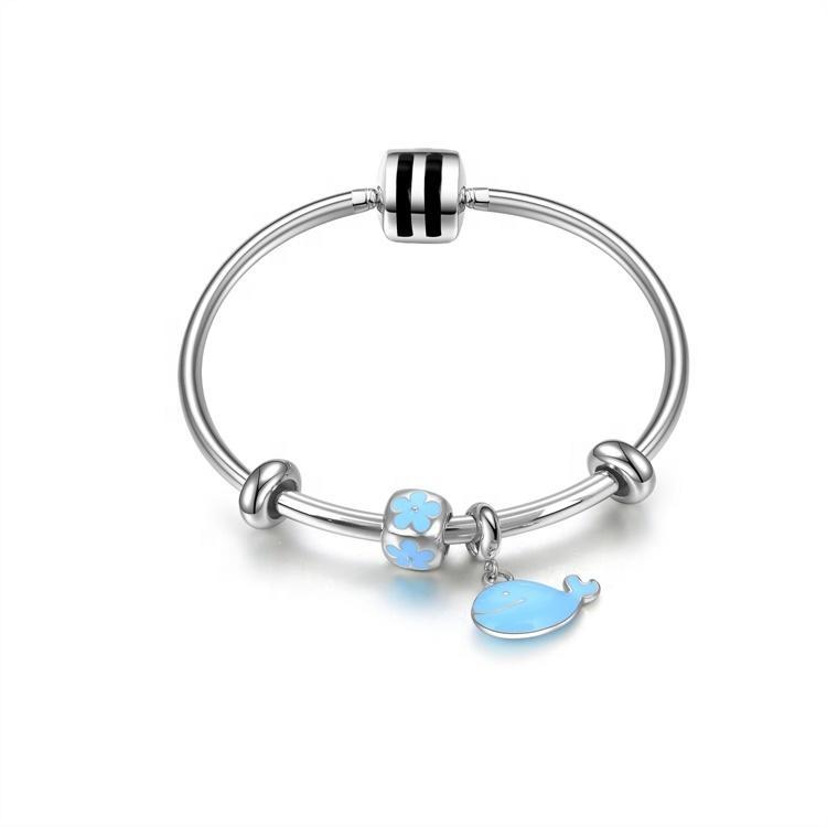 Good Quality Famous Women Beaded Bracelets  Blue White Zinc Plated Bracelets