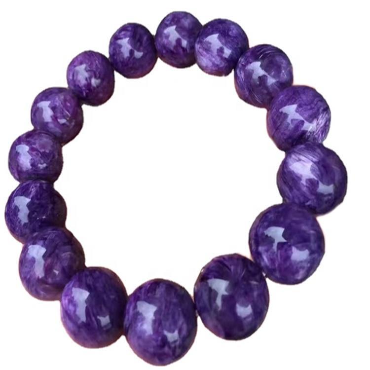 Russian Charoite Stretch Bracelet 15MM Smooth Rondelle Gemstone Iridescent Purple Beads Jewelry