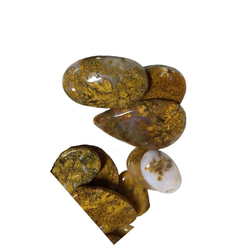 naturally Agate Cabochon Natural yellow moss agate gemstone Moss agate jwelery
