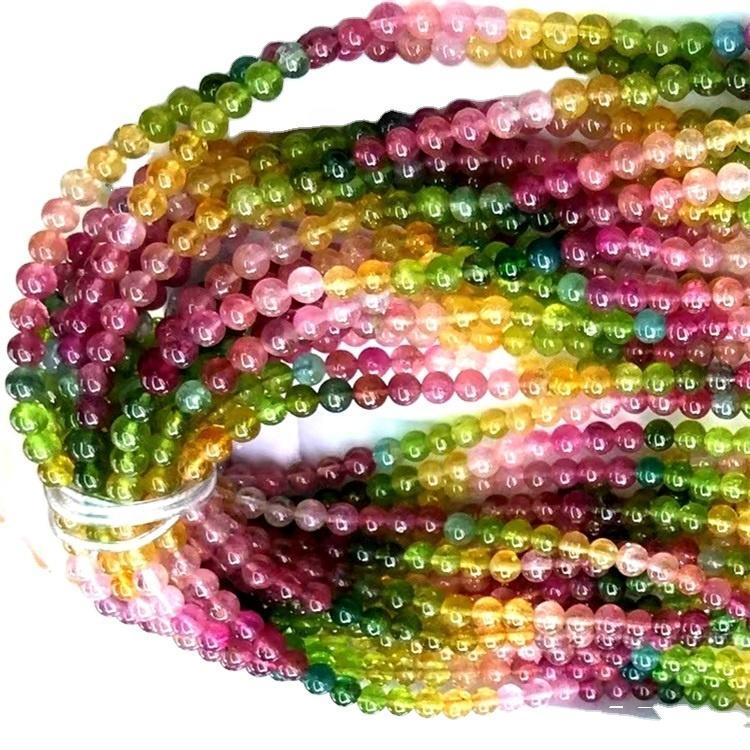 Natural 16 Inch Multi Tourmaline Smooth Round Gemstone Beads