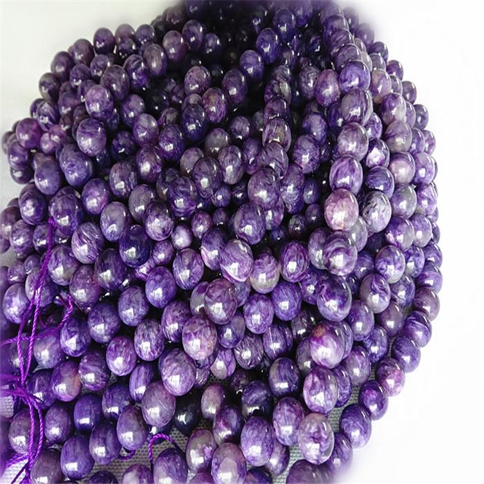 Natural Charoitee 3A  Round  shape beads Smooth and purple  gemstone strings