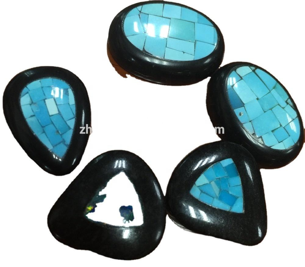 Natural Turquoise obsidian & MOP shell Mosaic cab