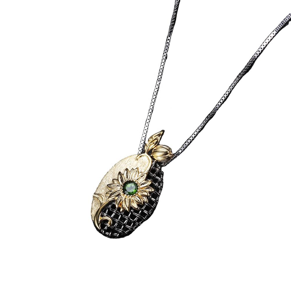 Fashion women\'s 925 sterling emeralds silver necklace pendant platinum rose gold ladies necklace