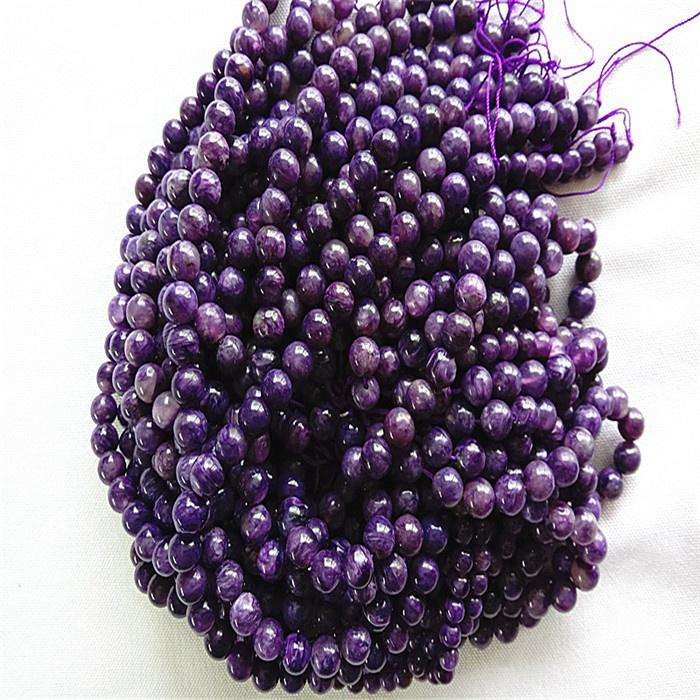 Natural Charoite 3A  Round  shape beads Smooth and purple  gemstone strings