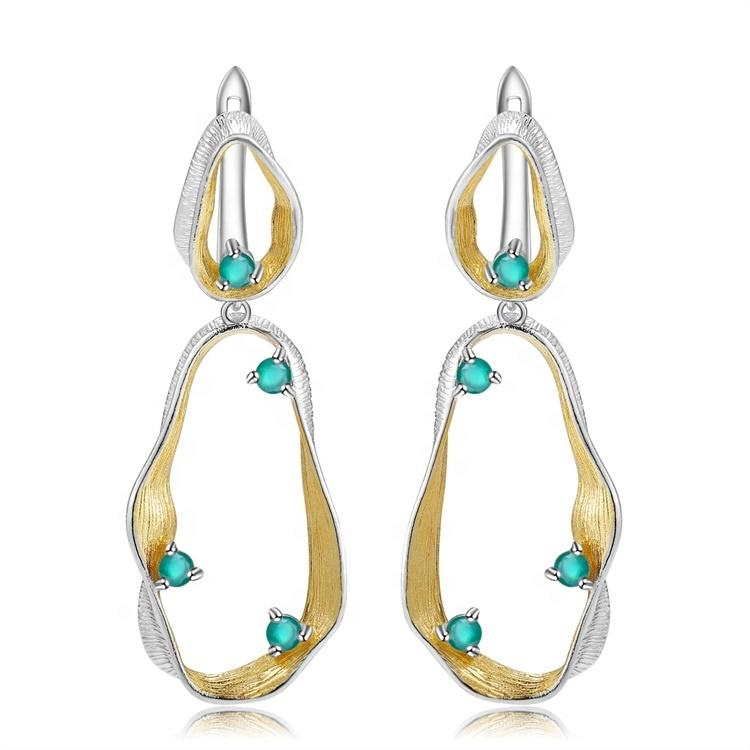 New Arrival  Jewelry Series 925 Sterling Silver Natural  natural blue quartz Women\'s Drop Earrings