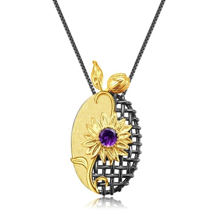 Fashion Women\'s 925 Sterling Silver Necklace Sun Flower Shape Pendant Platinum Rose Gold Ladies Necklace