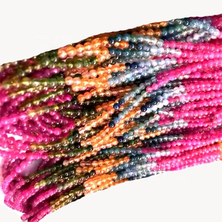 Tourmaline pink color gemstone loose round beads for bangle jewelry making