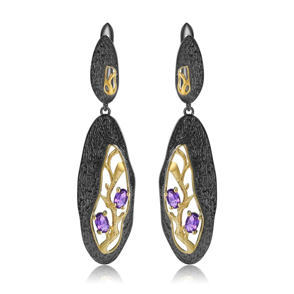 Hollow gold-plated amethyst earrings