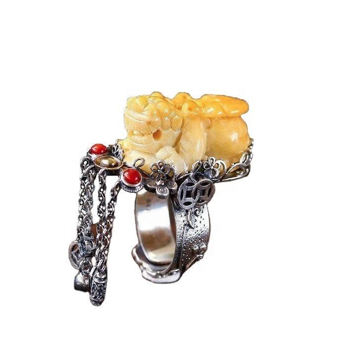 Natural Beeswax Amber original stone Ring Jewelry